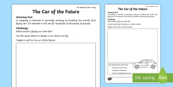 The Car of the Future Worksheet / Activity Sheet - Amazing Fact Of The Day, worksheet / activity sheets, powerpoint, starter, worksheet, morning activity, May, car