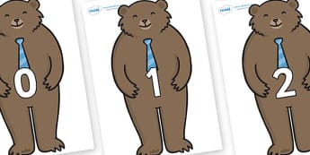 Numbers 0-50 on Daddy Bear - 0-50, foundation stage numeracy, Number recognition, Number flashcards, counting, number frieze, Display numbers, number posters