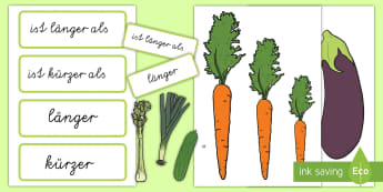 Vegetable Size Comparison Measuring Activity German - comparison, measurement, superlatives, adverbs