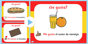 Spanish I Like Dislike Food PowerPoint - visual, display, foods