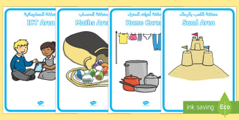 Area of Provision Display Posters Arabic/English - EYFS Continuous Provision and Challenge Cards Planning Pack, challange, eyfa EAL Arabic,Arabic-trans