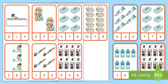 Keeping Clean Peg Counting 1-10 Number Cards - keeping clean, personal hygiene, hygiene, peg counting 1-10, numbers 1-10, counting, number recognit
