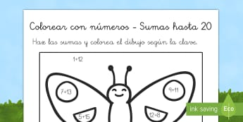 Colorear con números: Las sumas del 0 al 20 - Los bichos - libélula, abeja, caracol, hormiga, típula, escarabajo, mariposa, oruga, gusano, mariquita, cochini