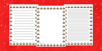 Christmas Pudding Portrait Page Borders- Portrait Page Borders - Page border, border, writing template, writing aid, writing frame, a4 border, template, templates, landscape