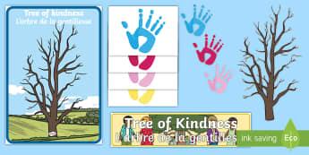Tree of Kindness Display Pack English/French  - Autumn, seasons, september, october, topics, ks1, harvest, kindness, kind, helpful, positive, behavi