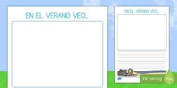 Pautas: En verano veo - El tiempo y las estaciones del año, proyecto, escritura, descripción,Spanish