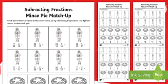 LKS2 Subtracting Fractions Christmas Differentiated Activity Sheets - Numerator, Denominator, Proper, Improper, Mixed Number, reasoning, problem solving, mastery, workshe