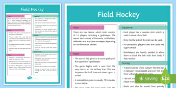 Hockey: Basic Rules Display Poster  - Hockey, Poster, Rules of the game, KS3, Winter sport, Invasion