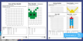 Back to Earth with a Bump Grid References Worksheet / Activity Sheets  - Back to Earth with a Bump, space, planets, night and day, dark, sun, Mars, moon, stories, picture bo