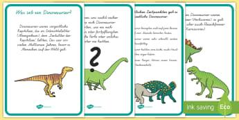 Dinosaurier Informationen Poster für die Klassenraumgestaltung - Dinos, Tiere, Urzeit, Steinzeit, Vorzeit, Sachkunde, HSU, ,German