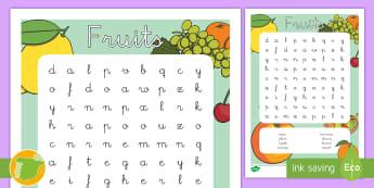 Sopa de letras: Frutas - Inglés  - fruits, lengua extranjera, inglés, english, food, comida, ,Spanish-translation