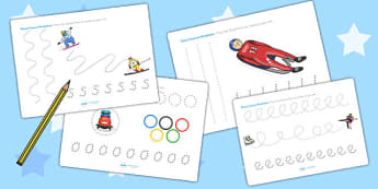 Winter Olympics Pencil Control Worksheets - winter, olympics