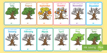 Months of the Year on Oak Trees Display Posters Arabic/English - Months of the Year on Oak Trees - month, months, year, seasons, tree, British wildlife EAL Arabic ,A