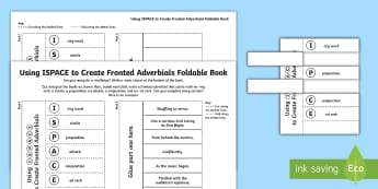 What Is a Fronted Adverbial?: Fronted Adverbial Foldable Book Activity - what is a fronted adverbial?, fronted adverbial, adverbials, ISPACE, openers, commas, fronted, subor