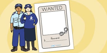 Police Wanted Poster - police, police role play, props, services