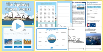 Sydney Opera House Junior Primary Resource Pack - Australian landmark, Australian geography, New South Wales, Guided Reading, comprehension, Writing,A