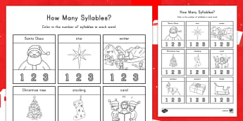 How Many Syllables? Christmas Activity Sheet - Syllables, ELA, Common Core, Christmas, Christmastime, worksheet, Christmas Activity Sheet, Santa Cl
