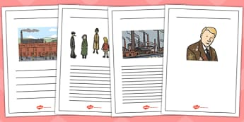 LS Lowry Writing Frames - LS Lowry, Lowry, writing frames, writing template, writing guide, writing aid, line guide, writing guide, themed writing template