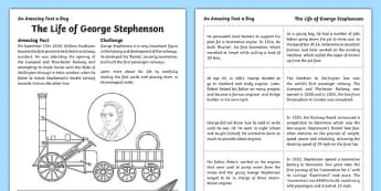 The Life Of George Stephenson Activity Sheet, worksheet