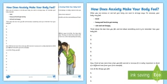 How Does Anxiety Make My Body Feel? Activity Sheet - worry, emotions, feelings, relationships, change, transition, young people, worksheet