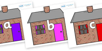 Phase 2 Phonemes on Brick houses - Phonemes, phoneme, Phase 2, Phase two, Foundation, Literacy, Letters and Sounds, DfES, display
