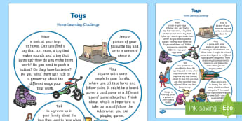 EYFS Toys Home Learning Challenge Sheet Reception FS2 - Toy, gift, game, puzzle, rules, play, board game, turns,