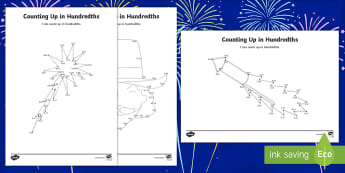 Bonfire Night Counting Up in Hundredths Activity Sheet - Bonfire Night Fractions Resources, decimals, hundredths, counting, dot to dot, worksheet, activity s