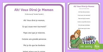 Vous Dirai je Maman French Nursery Rhyme A4 Display Poster - French Games, french songs, nursery rhymes, french nursery rhymes, french tunes, french poster, fren