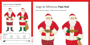 Father Christmas Spot the Difference Activity Sheet Spanish - Christmas, colours, clothes, revision, worksheet, writing