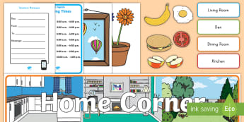 Home Living Role-Play Pack - home living, role-play, pack, bulletin board, pretend, word cards, banner, house, at home