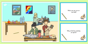 Art Lesson Scene and Question Cards - art lesson, questions, comprehension pack