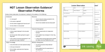 NQT Lesson Observation Guide - newly Qualified teacher, NQT, lesson observation reminders, lesson observation proforma, teacher org