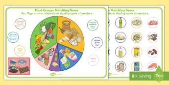 Food Groups Matching Game English/Romanian - match, mathching, diet, healthy eating, balanced diet, food wheel, Romanian-translation