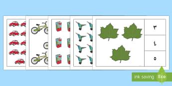 نشاط مطابقة العدد والكمية - العد، العدد، الأعداد، الكميات، مطابقة العدد، أوراق عم