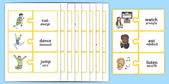 EAL Verbs Matching Jigsaw Romanian Translation - romanian, eal, verbs, matching, jigsaw, match