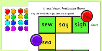 s and Vowel Production Game - s, vowels, s and vowels, production game, word game, letter game, vowel game, games, activitie, classroom game, literacy game