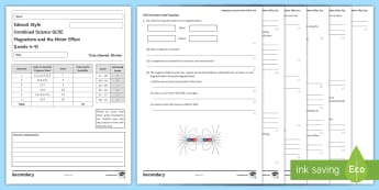 Edexcel-Style GCSE Combined Science Test: Magnetism and the Motor Effect  - Attract, repel, electromagnets, solenoid, compass