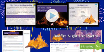 Bonfire Night: Fire Poetry Lesson Pack - Bonfire Night, Guy Fawkes, Fireworks, poetry, poetry writing, creative writing, fun poetry.