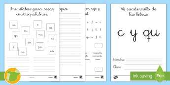 Cuadernillo de lecto: La C y la QU - lecto, leer, lectura, sonidos, letra , lecto-escritura, letra c, la c, qu, la qu, c o qu
