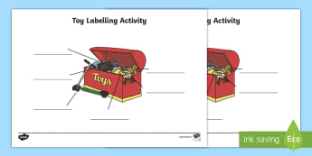 Toy Box Labelling Activity - labels, signs, activities, games