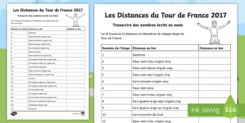 Tour de France Transcribing Words in Numbers Activity Sheet - cycling, race, French, spelling, bike, sport, reading