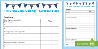 The Great Class Quiz Off European Flags Worksheet / Activity Sheet - General knowledge, Europe, European Countries, Team challenge, Group Challenge,Scottish, worksheet