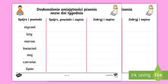 Karty Pisanie nazw miesięcy - miesiące, miesięcy, nazwy, rok, pisanie, polski, język, obcy, tygodni, tygodnie, czas, data,Polis