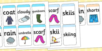 Winter Flashcards - seasons, weather, visual aid, flash cards