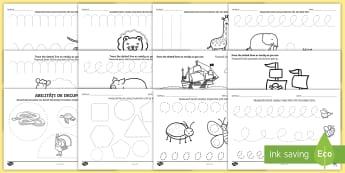 Elemente grafice și abilități de decupare Pachet cu activități - motricitate fină, elemente grafice, controlul creionului, scriere, început de an școlar,Romanian