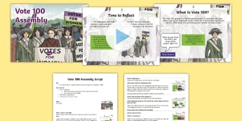Vote 100 Assembly Pack - Suffragettes, Parliament, Equality, Democracy, Election