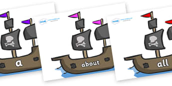 100 High Frequency Words on Pirate Ships - High frequency words, hfw, DfES Letters and Sounds, Letters and Sounds, display words