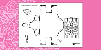 Diwali Elephant Cutout Template - diwali, elephant, cutout, cut out, cut-out, template, cut out template, diwali elephant, elephant template, cut and stick