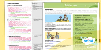 Geography: Rainforests Year 3 Planning Overview