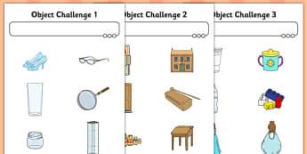 Object Challenge Worksheet / Activity Sheet - object, challenge, activity, sheet, worksheet